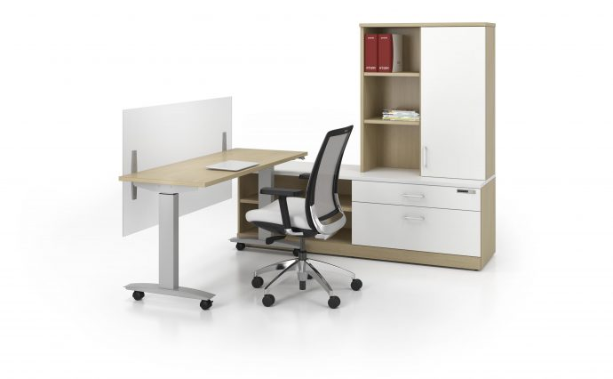shared space office ajustable tables custom furniture available at gyva.ca